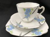 Royal Standard Deco tea trio Blue / Silver